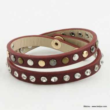 Bracelet multitours rock à clous et strass