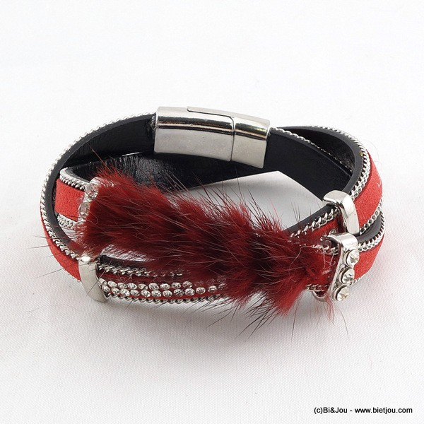 bracelet multi-tours aimanté simili-cuir fourrure 0215587