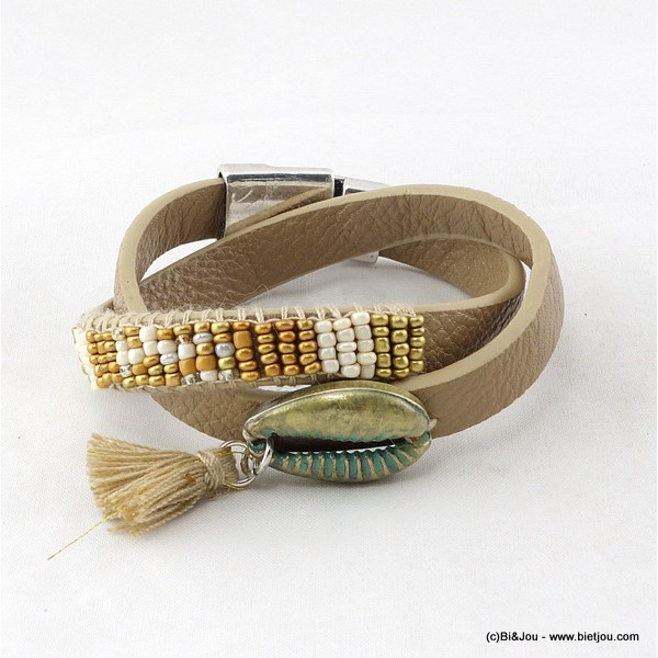 bracelet multi-tours aimanté simili-cuir coquillage pompon 0216009