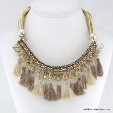 collier Gypset Hippie Chic Boho pompon 0116036