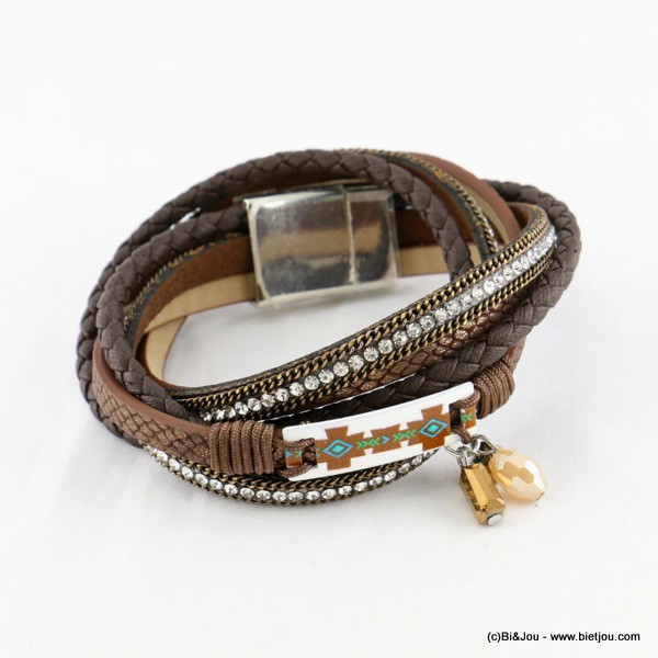 bracelet simili-cuir multi-tours aimanté 0216540