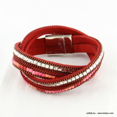 bracelet simili-cuir multi-tours aimanté 0216537