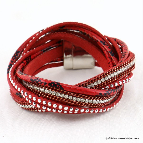 bracelet multi-tours simili-cuir aimanté 0215589