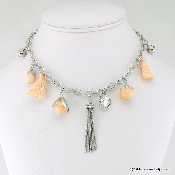 Collier court bourgeon pompon tassel et strass.
