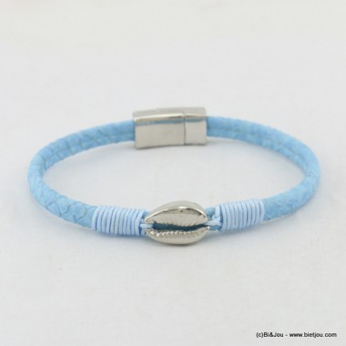 bracelet simili-cuir coquillage fermoir aimanté 0217051