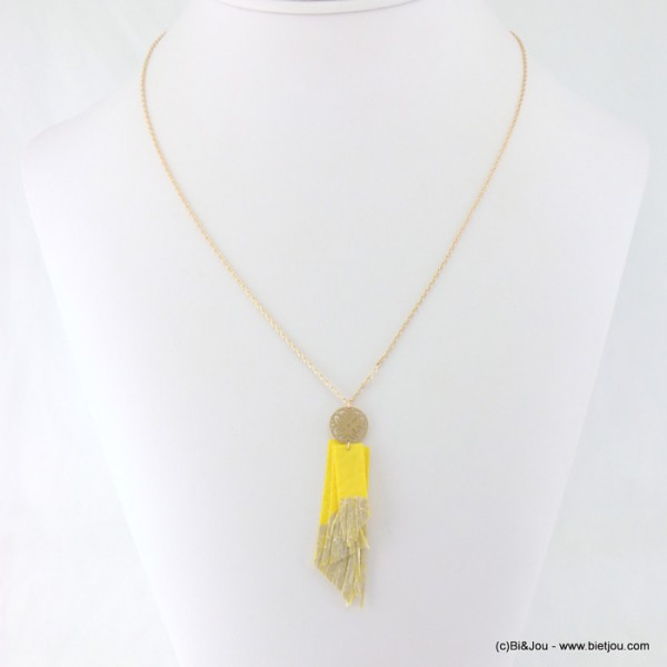 Collier rosace filigrane frange simili cuir
