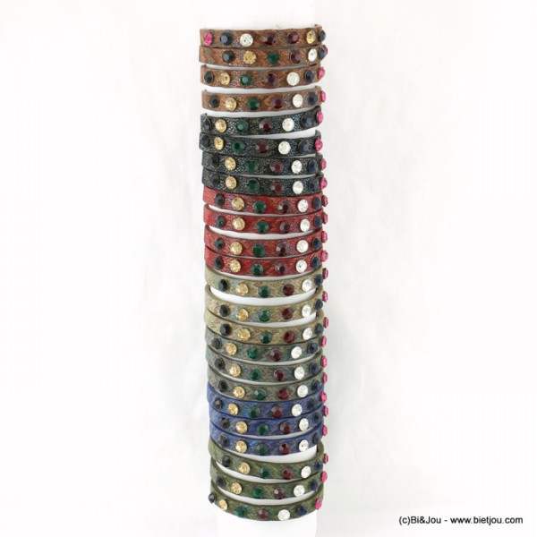 lot de 24 bracelets simili-cuir 7 couleurs strass colorés 0217559