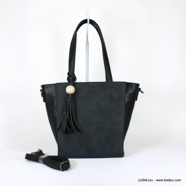 sac à main trois compartiments Gallantry pompon tassel simili-cuir souple 0918017