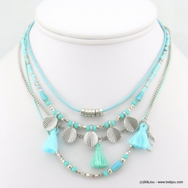 Collier multi-rangs pompon perle coquille