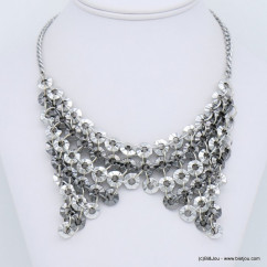 collier plastron antique métal bicolore 0118674