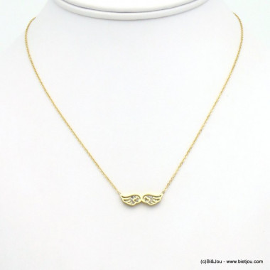 collier aile acier inoxydable strass 0119556