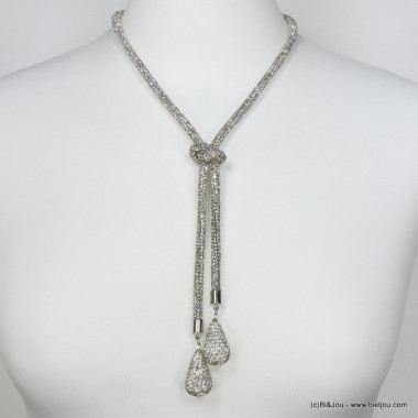 collier tube strass noeud goutte 0119634