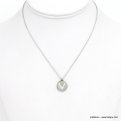 collier lettre initiale V acier inoxydable strass 0120583