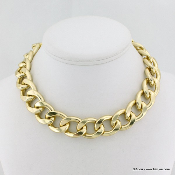 collier or grosse maille femme