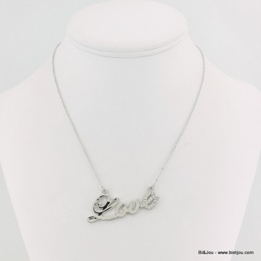 Collier inscription love métal et strass