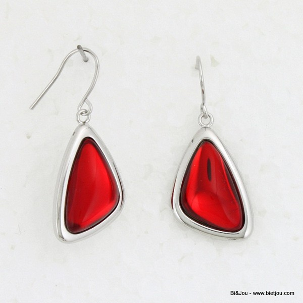 Boucles d'oreille triangles en verre translucide